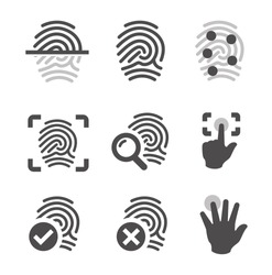 Simple set of fingerprint related vector icons for your design.