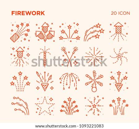 Simple Set of Firework. Vector Line Icons. Editable Stroke.