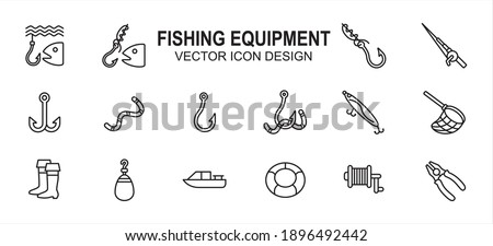 Simple Set of fishing fishermen Related lineal style Vector icon user interface graphic design. Contains such Icons as fish, fish hook knot, fishing rod, reel, double hook, floater, plier, net, boat Foto stock ©