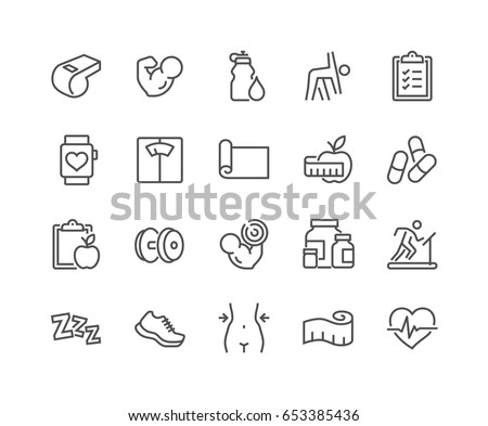 Simple Set of Fitness Related Vector Line Icons.  Contains such Icons as Workout, Sleep, Diet Plan, Sport Supplements, Nutrition and more. Editable Stroke. 48x48 Pixel Perfect.