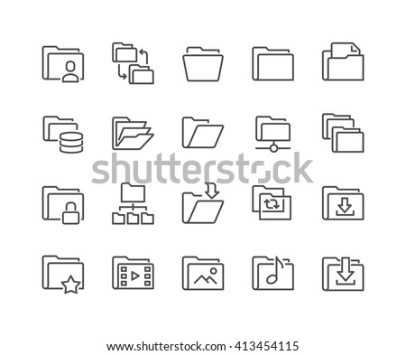 Simple Set of Folders Related Vector Line Icons.  Contains such Icons as Repository, Sync, Network Folder and more.  Editable Stroke. 48x48 Pixel Perfect.  Zdjęcia stock ©