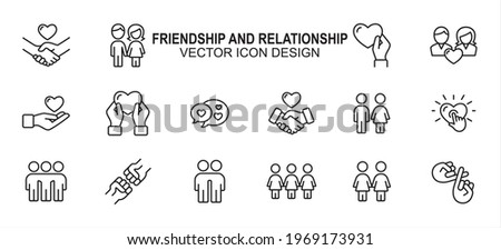 Simple Set of friendship and relationship Related Vector icon user interface graphic design. Contains such Icons as handshake, holding hand, giving love, receiving, chat, sisterhood, brotherhood, Сток-фото ©