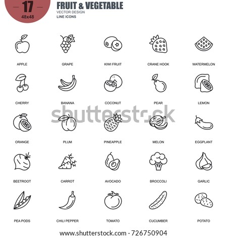Simple Set of Fruit and Vegetable Related Vector Line Icons. Contains such Icons as Apple, Banana, Coconut, Cherry,Watermelon, Beetroot, Potato and more. Editable Stroke. 48x48 Pixel Perfect.
