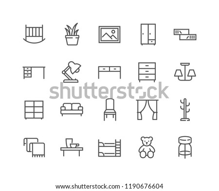 Simple Set of Furniture Related Vector Line Icons. Contains such Icons as Children's Bed, Sofa, Hanger and more. Editable Stroke. 48x48 Pixel Perfect.