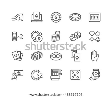 Simple Set of Gambling Related Vector Line Icons.  Contains such Icons as Slot Machine, Roulette, Dice, On Line Poker and more. Editable Stroke. 48x48 Pixel Perfect.