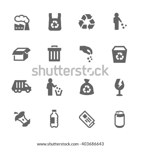 Simple Set of Garbage Related Vector Icons. Contains Such Icons as Plastic Bag, Recycle, Card board and more.