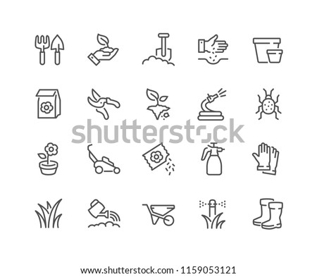 Simple Set of Gardening Related Vector Line Icons. Contains such Icons as Auto Watering, Seeding, Garden Tools and more. Editable Stroke. 48x48 Pixel Perfect.