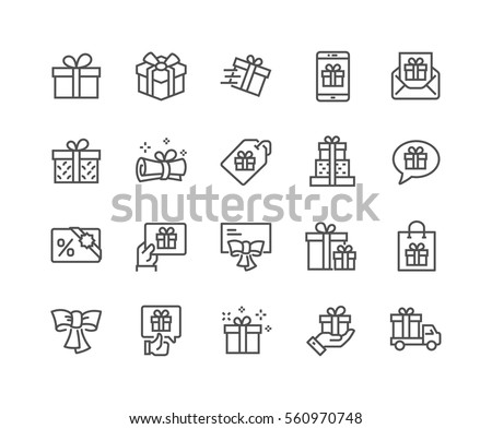 Simple Set of Gifts Related Vector Line Icons.  Contains such Icons as Gift Card, Present Offer, Ribbon and more. Editable Stroke. 48x48 Pixel Perfect.