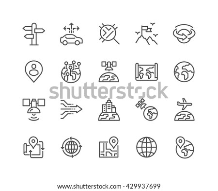 Free globe icons vector download free vector art stock graphics simple set of global navigation related vector line icons contains such icons as world map gumiabroncs Images