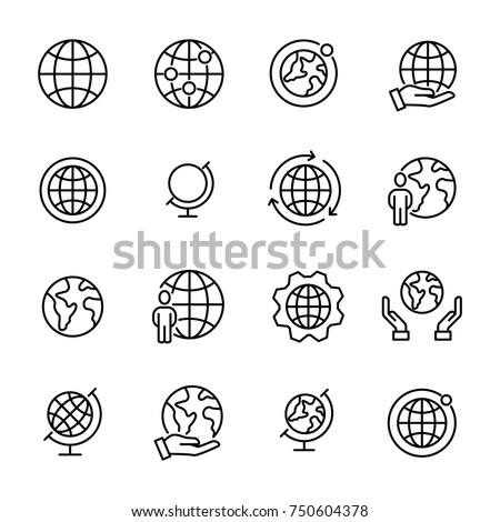 Simple set of globe related outline icons. Elements for mobile concept and web apps. Thin line vector icons for website design and development, app development. Premium pack.