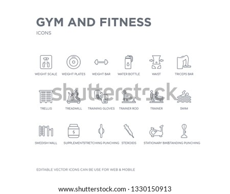 simple set of gym and fitness vector line icons. contains such icons as standing punching ball, stationary bike, steroids, stretching punching ball, supplement, swedish wall, swim, trainer, trainer