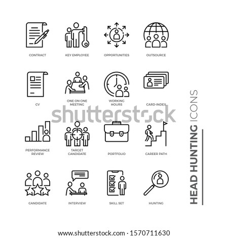 Simple Set of Head Hunting Related Vector Line Icons. Contains such Icons as Candidate, CV, Card Index, Outsource and more.