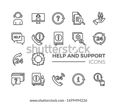 Simple Set of Help And Support Related Vector Line Icons. Contains such Icons as Handbook, Online Help, Tech Support and more.