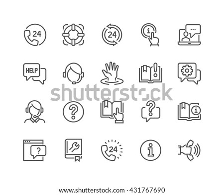 Simple Set of Help and Support Related Vector Line Icons.  Contains such Icons as Phone Assistant, Online Help, Video Chat and more. Editable Stroke. 48x48 Pixel Perfect.  #431767690