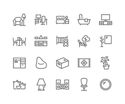 Simple Set of Home Room Types Related Vector Line Icons. Contains such Icons as Kitchen, Living Room, Storage System and more. Editable Stroke. 48x48 Pixel Perfect.