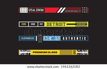 Simple set of horizontal slogans for street wear. t shirt accessories, hoodies, etc Photo stock ©
