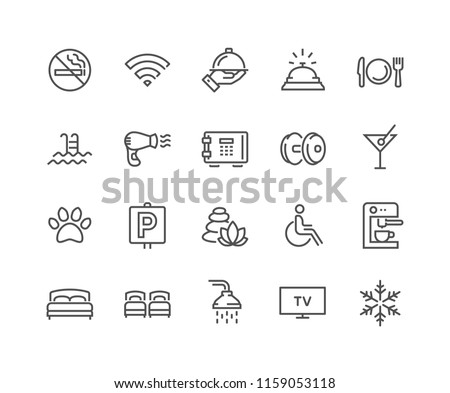 Simple Set of Hotel Related Vector Line Icons. Contains such Icons as One Large and Two Separate Beds, Air Conditioning, Wi-Fi and more. Editable Stroke. 48x48 Pixel Perfect.