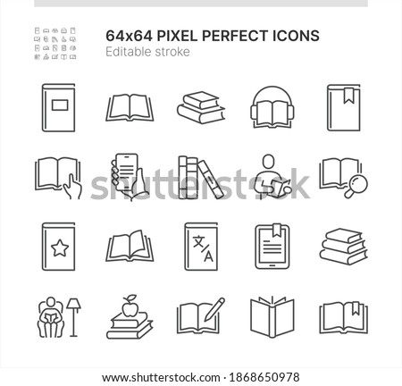 Simple Set of Icons Related to Books. Contains such icons as Reading Man, Opened Book, Dictionary and more. Lined Style. 64x64 Pixel Perfect. Editable Stroke. Stockfoto ©
