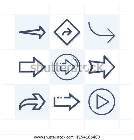 Simple set of 9 icons related to direction outline such as direction, next, right arrow symbols