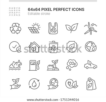 Simple Set of Icons Related to Ecology. Contains such icons as Green Energy, Recycling, Ecology Friendly Production and more. Lined Style. 64x64 Pixel Perfect. Editable Stroke.