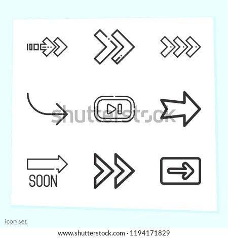 Simple set of 9 icons related to next outline such as next, fast forward, right arrow, skip symbols