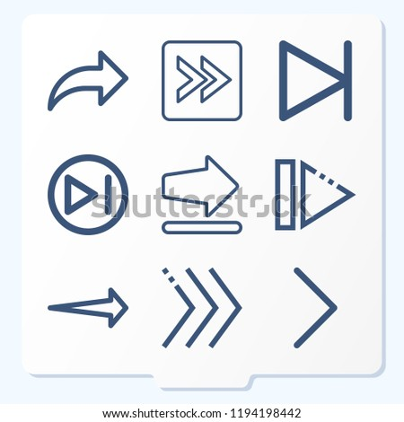 Simple set of 9 icons related to next outline such as next, right arrow symbols