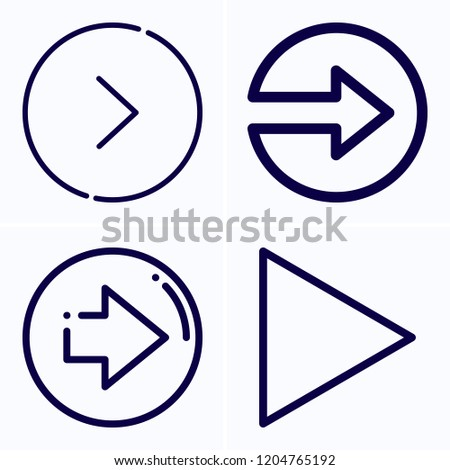 Simple set of 4 icons related to next outline such as next symbols