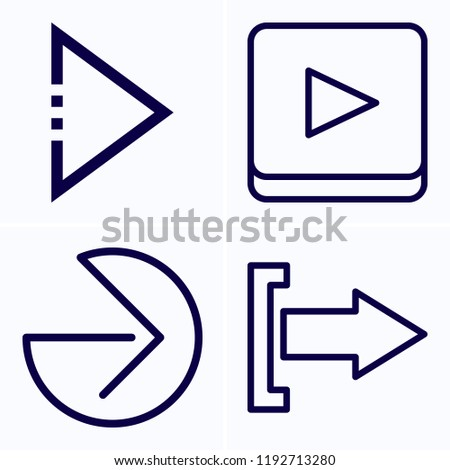 Simple set of 4 icons related to next outline such as right arrow, next symbols