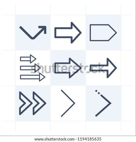 Simple set of 9 icons related to next outline such as right arrow, next symbols