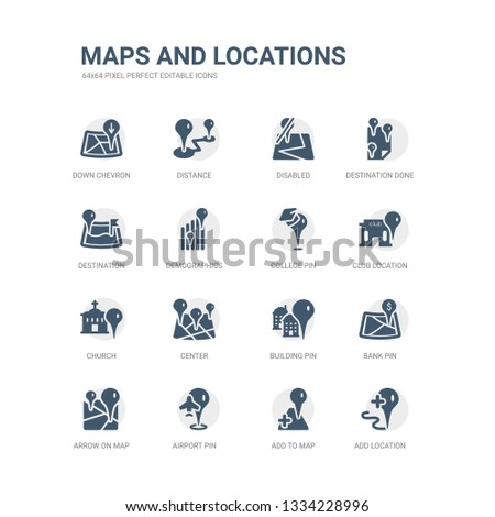 simple set of icons such as add location, add to map, airport pin, arrow on map, bank pin, building pin, center, church, club location, college related maps and locations icons collection. editable