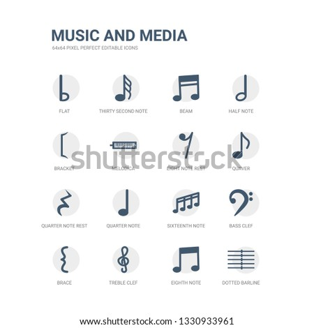 simple set of icons such as dotted barline, eighth note, treble clef, brace, bass clef, sixteenth note, quarter note, quarter rest, quaver, eight rest. related music and media icons collection.