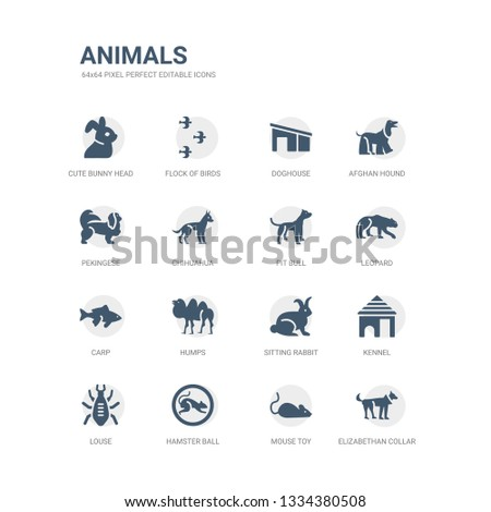 simple set of icons such as elizabethan collar, mouse toy, hamster ball, louse, kennel, sitting rabbit, humps, carp, leopard, pit bull. related animals icons collection. editable 64x64 pixel