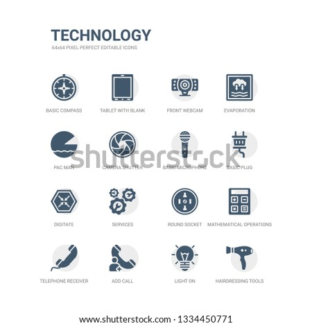 simple set of icons such as hairdressing tools, light on, add call, telephone receiver, mathematical operations, round socket, services, digitate, basic plug, basic microphone. related technology