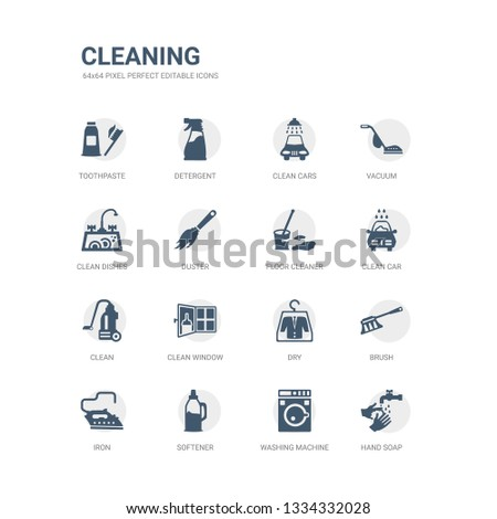 simple set of icons such as hand soap, washing machine, softener, iron, brush, dry, clean window, clean, clean car, floor cleaner. related cleaning icons collection. editable 64x64 pixel perfect.