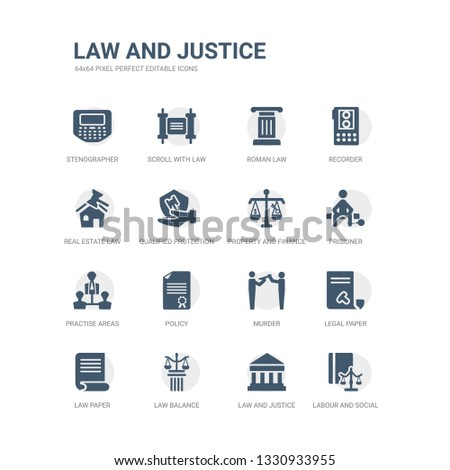 simple set of icons such as labour and social law, law and justice, law balance, paper, legal paper, murder, policy, practise areas, prisioner, property and finance. related justice icons #1330933955