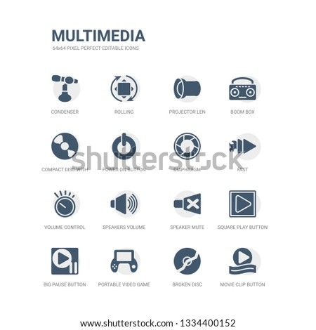 simple set of icons such as movie clip button, broken disc, portable video game console, big pause button, square play button, speaker mute, speakers volume, volume control, fast, diaphragm. related
