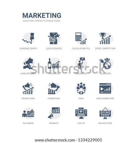 simple set of icons such as online store, pop up, promote, salesman, video marketing, viral, promoting, promotions, volunteer, protester. related marketing icons collection. editable 64x64 pixel