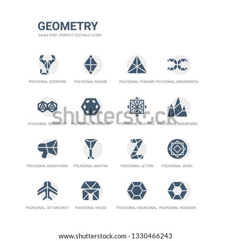 simple set of icons such as polygonal hexagon, polygonal hexagonal, polygonal house or home building, jet aircraft, jewel, letter z of small triangles, martini glass shape, megaphone, mountains,