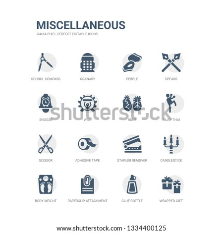 simple set of icons such as wrapped gift, glue bottle, paperclip attachment, body weight, candlestick, stapler remover, adhesive tape, scissor, muay thai, rune. related miscellaneous icons