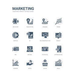 simple set of icons such as yield, offer, ratio, margin, appreciation, potential, buying, bid, result, recommendation. related marketing icons collection. editable 64x64 pixel perfect.