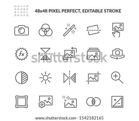 Simple Set of Image Editing Related Vector Line Icons. Contains such Icons as Image Gallery, Auto Correction, Adjustments and more. Editable Stroke. 48x48 Pixel Perfect.