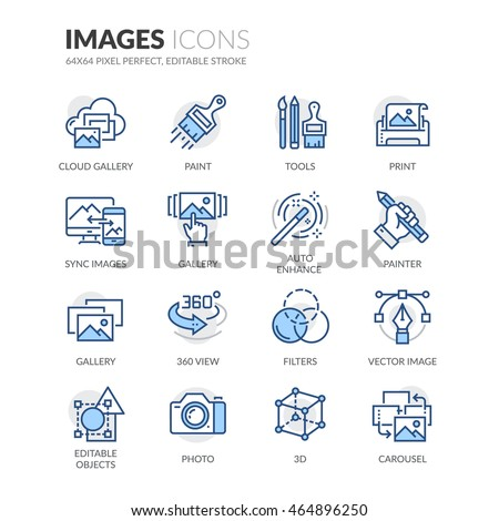 Simple Set of Images Related Color Vector Line Icons. Contains such Icons as 360 Degree View, Cloud Gallery, Filters and more. Editable Stroke. 64x64 Pixel Perfect.