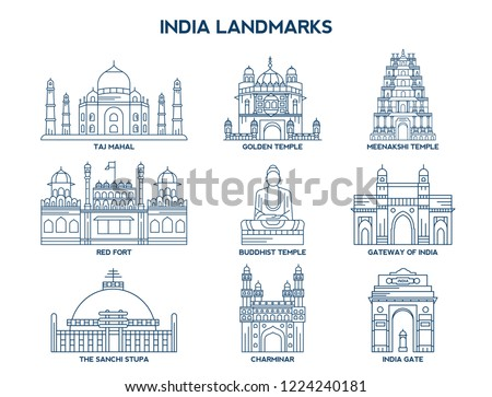 simple set of india landmarks