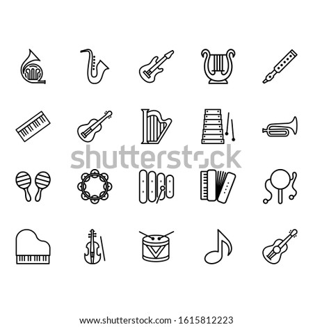 Simple set of instrumental music Icons Related to Lines. Contains icons such as lute, piano, guitar, violin, saxophone and more