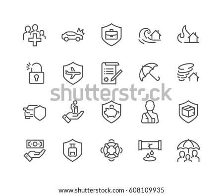 Simple Set of Insurance Related Vector Line Icons.  Contains such Icons as Car Protection, Health Insurance, Contract and more. Editable Stroke. 48x48 Pixel Perfect.