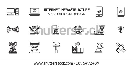 Simple Set of internet infrastructure Related lineal style Vector icon user interface graphic design. Contains such Icons as computer desktop, laptop, mobile phone, router, modem, transmitter tower Foto stock ©