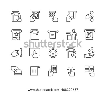 Simple Set of Kiosk Terminal Related Vector Line Icons.  Contains such Icons as Choosing Options, Getting Receipt, Printing Tickets and more. Editable stroke. 48x48 Pixel Perfect.