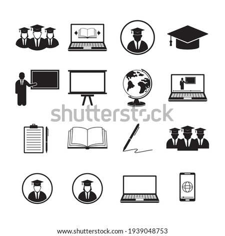 Simple Set of Learning Icons. Online Education Related Vector Icons. Contains such Icons as Graduation, E-Book, Video Tutorial, On-line Lecture, Globe, List, Book, Pen, Education Plan and Laptop.