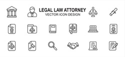 Simple Set of legal law attorney Related Vector icon user interface graphic design. Contains such Icons as court, judge, justice scale, scroll, constitution, hammer, handshake, book, writing,