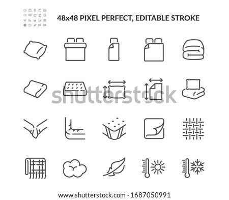 Simple Set of Linens Related Vector Line Icons. Contains such Icons as Blanket, Single and Double Bed, Weather Conditions. Editable Stroke. 48x48 Pixel Perfect.